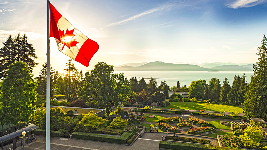 UBC flagpole and Rose Garden, photo credit: Hover Collective