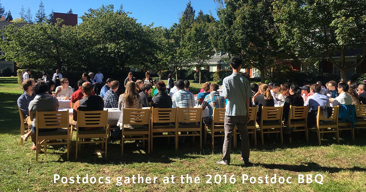 Postdocs gather at the 2016 Postdoc Appreciation BBQ