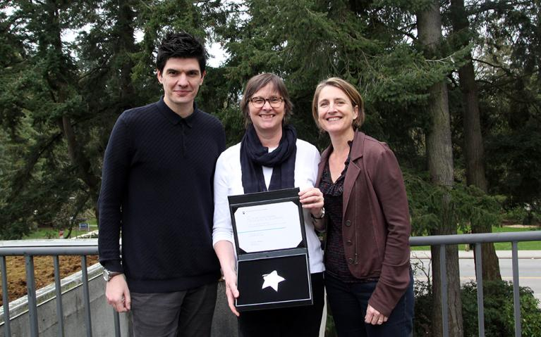 Efe Peker, Susan Porter and Jenny Phelps with the 2016/17 Helen McCrae Award.