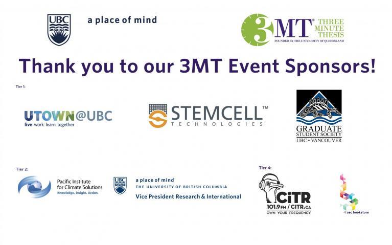 UBC 3MT 2015 Sponsor logos
